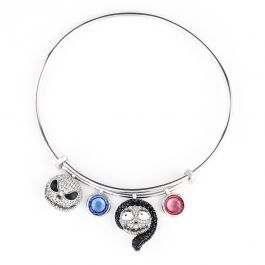 Jeulia Jack Skellington and Sally Sterling Silver Personalized Bracelet