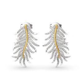 "Jeulia ""Feathers Appear When Angels Are Near"" Sterling Silver Earrings"