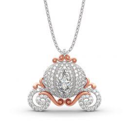 "Jeulia ""Cinderella's Dream"" Pumpkin Carriage Sterling Silver Necklace"