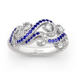 "Jeulia ""Life Reminder"" Ocean Waves Design Sterling Silver Ring"