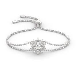 "Jeulia ""Winter Love"" Snowflake Round Cut Sterling Silver Bracelet"