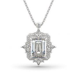 Jeulia Vintage Leaf Halo Emerald Cut Sterling Silver Necklace
