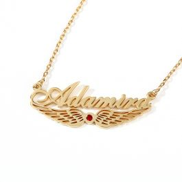 "Jeulia ""Angel Wings"" Personalized Sterling Silver Name Necklace with Birthstone"