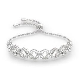 "Jeulia ""Gorgeous Beauty"" Marquise Cut Sterling Silver Bracelet"