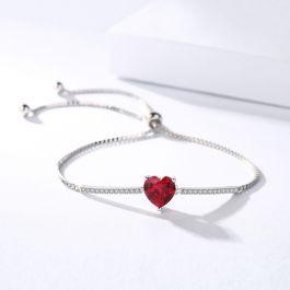 """Jeulia """"Eternal Love"""" Heart Cut Sterling Silver Bracelet"""