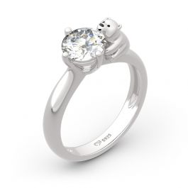 Jeulia Polar Bear Inspired Round Cut Sterling Silver Ring
