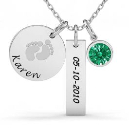 Baby Feet Bar Engraved Necklace With Birthstones Sterling Silver