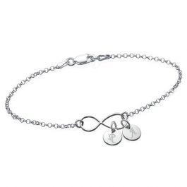 Infinity Bracelet With Initial Charms Sterling Silver