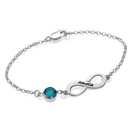 Infinity Sterling Silver Bracelet With Birthstone