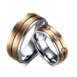 Fashion Two Tone Titanium Steel Couple Rings