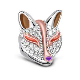 Two Tone Fox Charm Sterling Silver