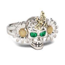 Daisy Bee Sterling Silver Skull Ring