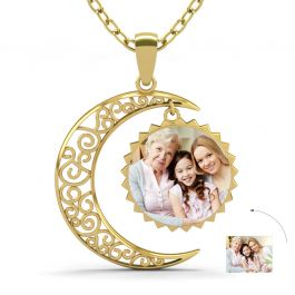 Gold Tone Crescent Moon Personalized Photo Necklace Sterling Silver