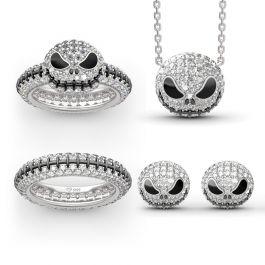 """""""Pumpkin King"""" """"Jack Skull"""" Sterling Silver Jewelry Set"""