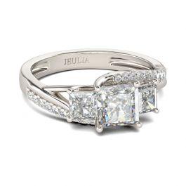 Three Stone Princess Cut Sterling Silver Bridal Set