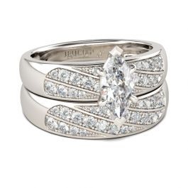 Marquise Cut Sterling Silver Ring Set