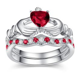 Heart Cut Sterling Silver Claddagh Ring Set