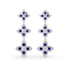 Lucky Flower Sterling Silver Drop Earrings