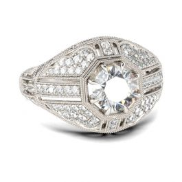 Art Deco Round Cut Sterling Silver Ring
