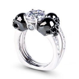 JeuliaTwo Tone Round Cut Sterling Silver Skull Ring Set