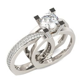 Cathedral Round Cut Sterling Silver Ring Set