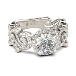 Swirl Design Halo Round Cut Sterling Silver Ring