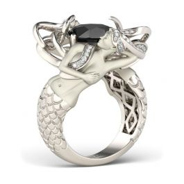 Black Cushion Cut Sterling Silver Mermaid Ring