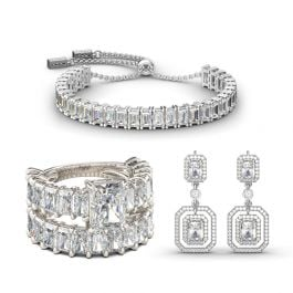 Jeulia Luxurious Radiant Cut Sterling Silver Jewelry Set