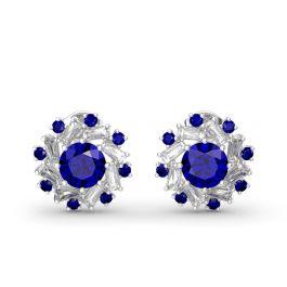 Jeulia Halo Round Cut Sterling Silver Stud Earrings
