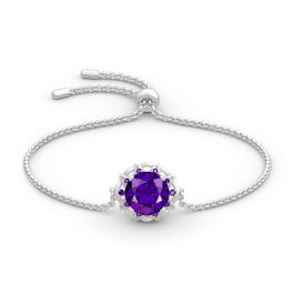 Amethyst Flower Round Cut Sterling Silver Bracelet