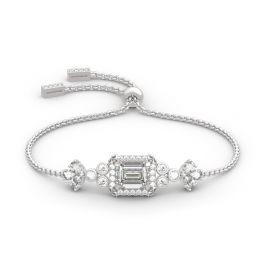 Jeulia Vintage Flower Halo Emerald Cut Sterling Silver Bolo Bracelet