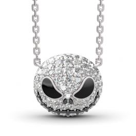 "Jeulia ""Pumpkin King"" ""Jack Skull""Sterling Silver Skull Necklace"