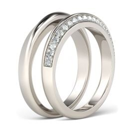 Jeulia Stylish Design Round Cut Sterling Silver Band Set