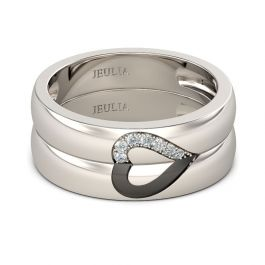 Love Shape Sterling Silver Band Set