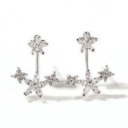 Flower Sterling Silver Ear Jackets