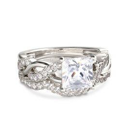 Jeulia Twist Princess Cut Sterling Silver Ring Set