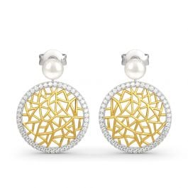 Modern Filigree Cultured Pearl Sterling Silver Earrings
