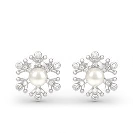 Jeulia Snowflake Cultured Pearl Sterling Silver Stud Earrings