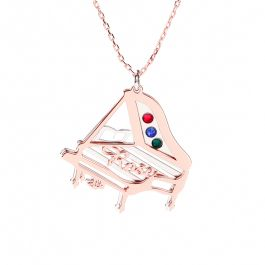 Piano Personalized Sterling Silver Necklace