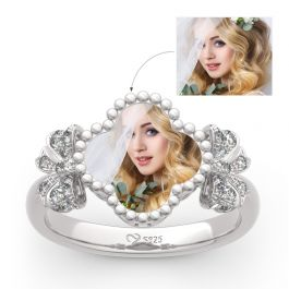 """""""Lucky Filled of My Life"""" Sterling Silver Personalized Photo Ring"""