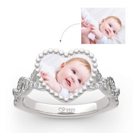 """""""Endless Love"""" Sterling Silver Personalized Photo Ring"""