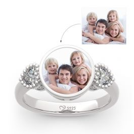 """""""The Best Memories"""" Sterling Silver Personalized Photo Ring"""