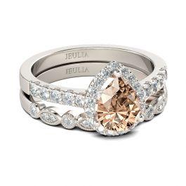 Jeulia Halo Milgrain Pear Cut Sterling Silver Ring Set