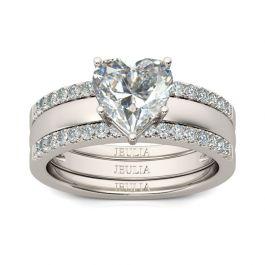 Jeulia Shining Heart Cut Sterling Silver Enhancer Ring Set