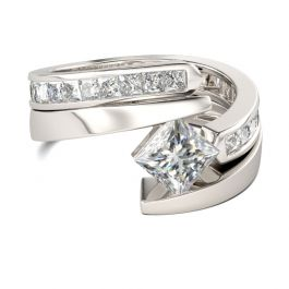 Jeulia Bypass Princess Cut Sterling Silver Ring Set