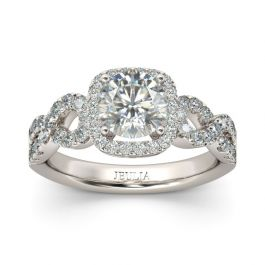 Jeulia Twist Halo Round Cut Sterling Silver Ring