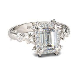 Jeulia Flower Emerald Cut Sterling Silver Ring
