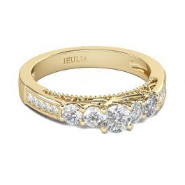 Jeulia Five Stone Round Cut Sterling Silver Ring