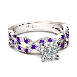 Jeulia Twist Round Cut Sterling Silver Ring