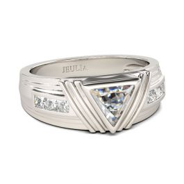 Jeulia Trillion Cut Sterling Silver Men's band